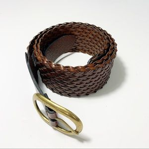 Ann Taylor Loft Wide Braided Brown Leather Belt L